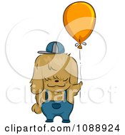 Clipart Rear View Of A Shih Tzu Dog Holding A Balloon Royalty Free Vector Illustration