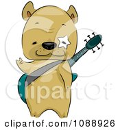 Clipart French Bulldog Guitarist Royalty Free Vector Illustration