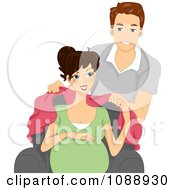 Clipart Man Covering His Pregnant Wife With A Blanket Royalty Free Vector Illustration
