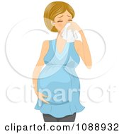 Clipart Sick Pregnant Woman Blowing Her Nose Royalty Free Vector Illustration