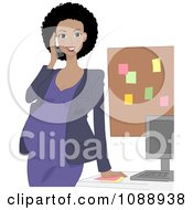 Clipart Black Pregnant Woman Talking On A Phone In Her Office Royalty Free Vector Illustration