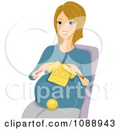 Clipart Pregnant Woman Knitting A Baby Shirt Royalty Free Vector Illustration by BNP Design Studio