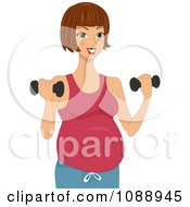 Clipart Pregnant Woman Lifting Dumbbells Royalty Free Vector Illustration