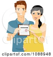 Clipart Beautiful Pregnant Couple Showing Their Due Date Royalty Free Vector Illustration by BNP Design Studio