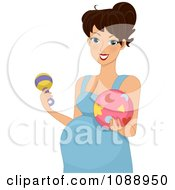Clipart Pregnant Woman Holding A Rattle And Baby Ball Royalty Free Vector Illustration
