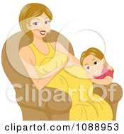 Clipart Girl Listening To Her Pregnant Moms Belly Royalty Free Vector Illustration