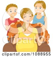 Clipart Son And Daughter Covering Their Pregnant Mom With A Blanket Royalty Free Vector Illustration by BNP Design Studio