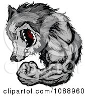 Clipart Flexing Wolf Mascot Royalty Free Vector Illustration