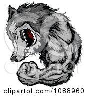 Flexing Wolf Mascot