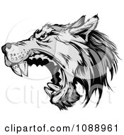 Clipart Attacking Wolf Mascot Royalty Free Vector Illustration