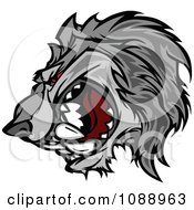 Clipart Aggressive Wolf Mascot Royalty Free Vector Illustration by Chromaco