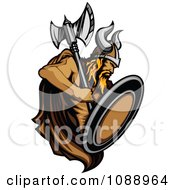 Clipart Strong Viking Warrior Holding An Axe And Shield Royalty Free Vector Illustration