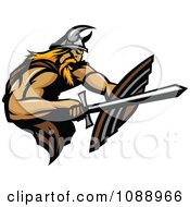 Clipart Viking Warrior Using A Sword And Shield Royalty Free Vector Illustration by Chromaco