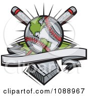 Clipart Baseball Globe With Crossed Bats Over A Home Plate Royalty Free Vector Illustration by Chromaco