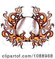 Clipart Baseball And Flame Wings Royalty Free Vector Illustration by Chromaco