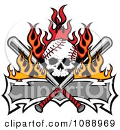 Clipart Fiery Baseball Skull With Crossed Bats And A Banner Royalty Free Vector Illustration by Chromaco