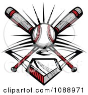 Clipart Crossed Baseball Bats A Ball And Diamond Royalty Free Vector Illustration