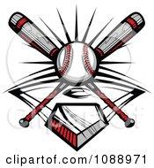 Crossed Baseball Bats A Ball And Diamond