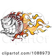 Clipart Tough Flaming Baseball Mascot Royalty Free Vector Illustration