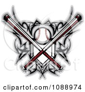 Clipart Tribal Baseball Home Plate With Crossed Bats And Designs - Royalty Free Vector Illustration by Chromaco #COLLC1088974-0173