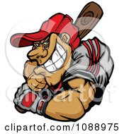 Clipart Strong Baseball Player Batting Royalty Free Vector Illustration
