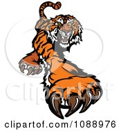 Clipart Tiger Mascot Clawing Royalty Free Vector Illustration