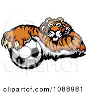 Clipart Tiger Soccer Mascot Resting On A Ball Royalty Free Vector Illustration by Chromaco