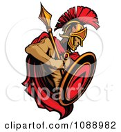Alert Spartan Roman Warrior Holding A Shield And Spear