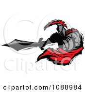 Clipart Spartan Roman Warrior Lunging With A Sword Royalty Free Vector Illustration