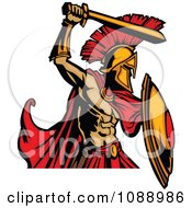Clipart Spartan Roman Warrior Attacking With A Sword Royalty Free Vector Illustration
