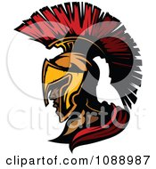 Clipart Spartan Roman Soldier Head And Helmet Royalty Free Vector Illustration by Chromaco
