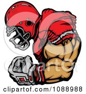 Clipart Strong Football Player Flexing Royalty Free Vector Illustration