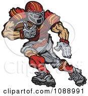 Clipart Strong Football Runningback Playe Royalty Free Vector Illustration by Chromaco