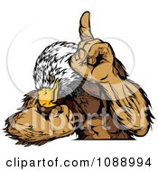 Clipart Strong Bald Eagle Champion Flexing Royalty Free Vector Illustration