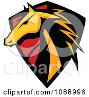 Clipart Horse Head Badge Shield Royalty Free Vector Illustration by Chromaco #COLLC1088996-0173