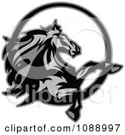 Clipart Grayscale Rearing Horse Mascot Royalty Free Vector Illustration
