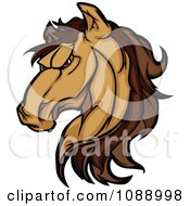Clipart Strong Mustang Horse Head Mascot Royalty Free Vector Illustration by Chromaco