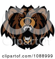 Clipart Roaring Brown Bear Mascot Royalty Free Vector Illustration by Chromaco