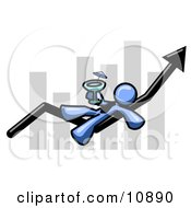 Blue Business Owner Man Relaxing On An Increase Bar And Drinking Finally Taking A Break Clipart Illustration by Leo Blanchette