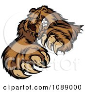 Clipart Clawing Brown Bear Mascot Royalty Free Vector Illustration