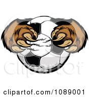 Brown Bear Mascot Clawing A Soccer Ball
