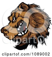 Clipart Brown Bear Mascot In Profile Royalty Free Vector Illustration