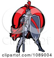 Clipart Knight Standing With A Shield And Sword Over A Red Circle Royalty Free Vector Illustration