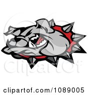 Clipart Mean Gray Bulldog Mascot Head Royalty Free Vector Illustration by Chromaco