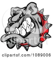 Clipart Aggressive Gray Bulldog Mascot Head Royalty Free Vector Illustration by Chromaco