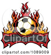 Clipart Tribal Banner With A Soccer Ball And Flames Royalty Free Vector Illustration