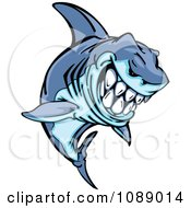 Clipart Grinning Blue Shark Mascot Royalty Free Vector Illustration