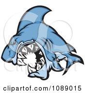 Attacking Blue Shark Mascot