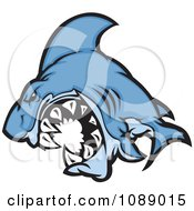 Clipart Attacking Blue Shark Mascot Royalty Free Vector Illustration