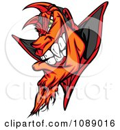 Clipart Evil Devil Face Mascot Royalty Free Vector Illustration